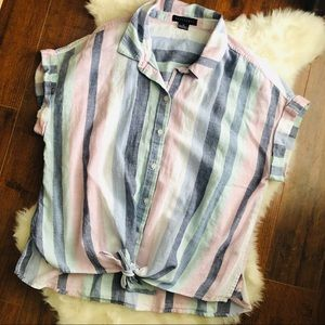 Sanctuary stripe front tie button down top